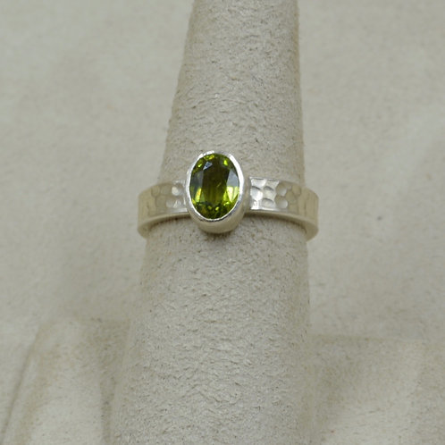 Faceted Peridot and Sterling Silver 6.5X Ring by Joe Glover
