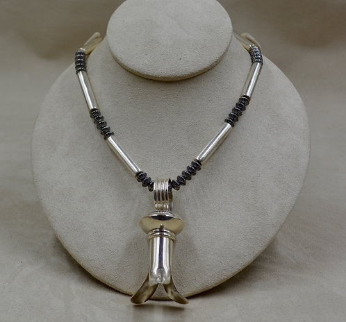 "Handmade Sterling Silver 21.5"" Bead Necklace by Bettilyn Nez"