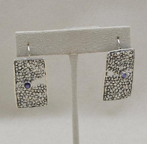 Sterling Silver & Iolite Handcast Wire Earrings by Michele McMillan