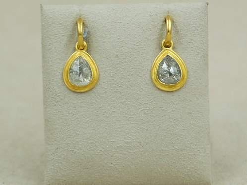 22k Ear Charm w/ 4.94 Carats Teardrop Earrings by Pamela Farland