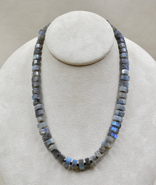 Labradorite with Black Spinel Spacers Necklace by Reba Engel