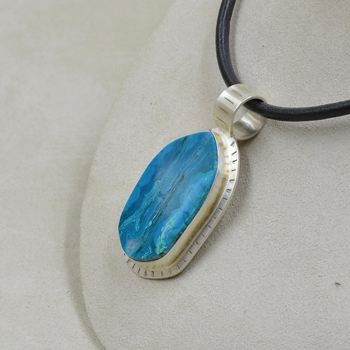 Arizona Chrysocolla Slab with Stainless Silver Penant by Joe Glover