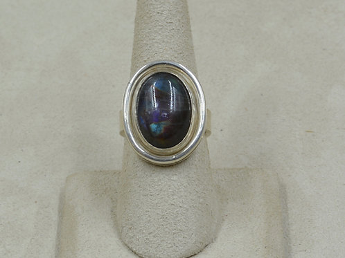 Oval Spectrolite Cab and Sterling Silver Adj Ring by Joe Glover