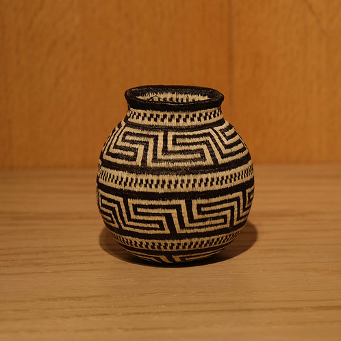 Black and White Greek Key Wounaan Basket