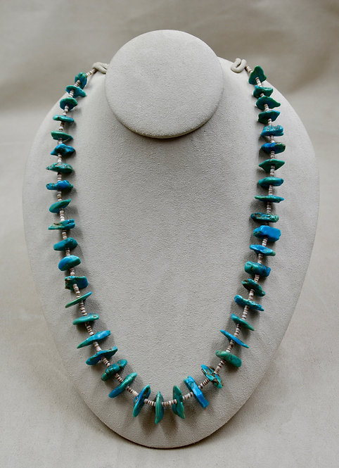 Vintage Santo Domingo Style Blue/Green Turquoise Nugget Heishi Necklace