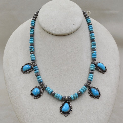 Old Set Hi Grade Natural Morenci Turquoise Navajo Necklace by Maggie Moser