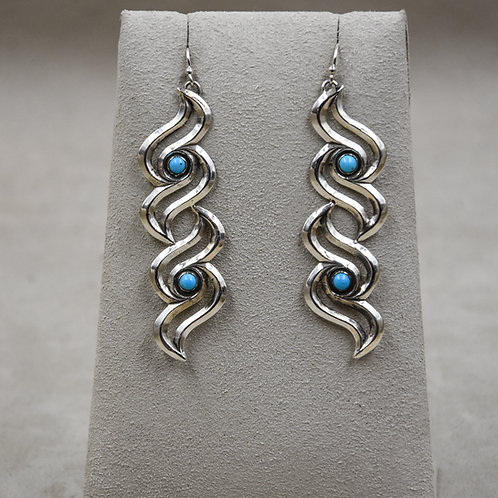 Double Raven Shiny Turquoise Earrings by Gregory Segura
