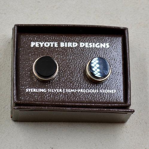 Large Round 3-D Onyx Post Earrings by Peyote Bird Designs