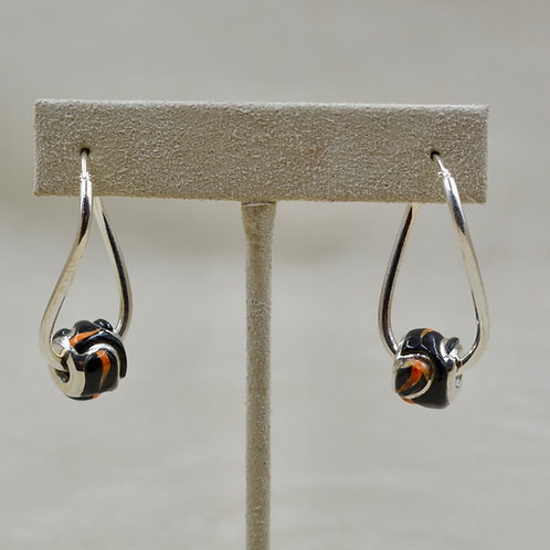 Twist Flame S. Silver Earrings w/ Black Jade, Spiny Oyster, Opal by GL Miller