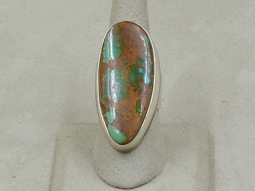 Natural Pilot Mountain Turquoise and Sterling Silver 8x Ring by Joe Glover