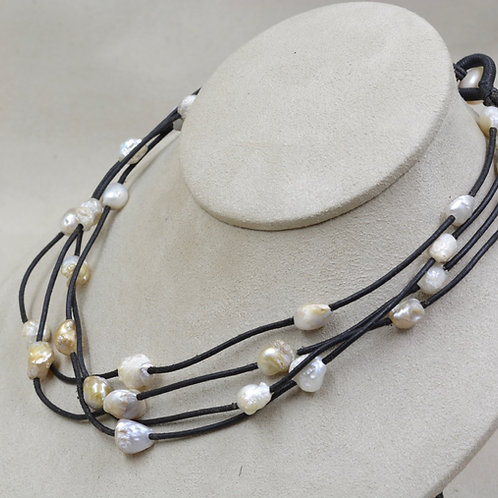 4-Strand Natural Freshwater Pearl Necklace on Black Leather by US Pearl Co.