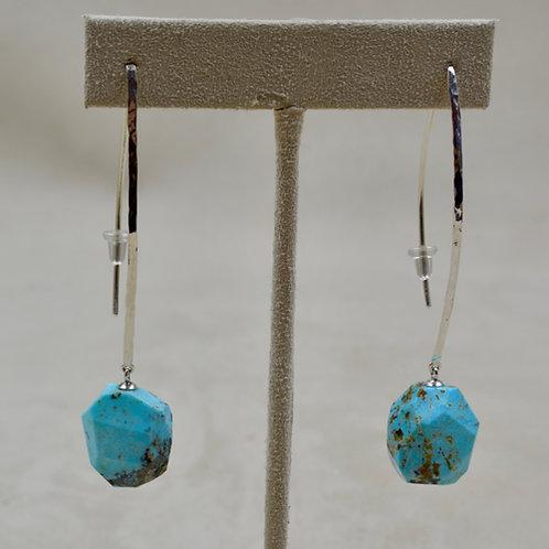 Sterling Silver w/ Kingman Turquoise Nuggets Earrings by Reba Engel