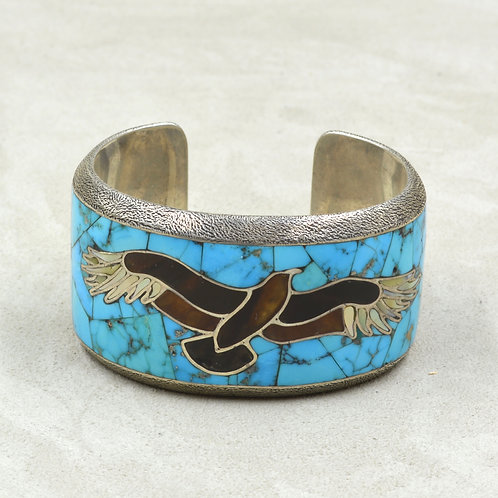 Vintage Thom Rice Inlaid Eagle Cuff w/ Legal Tortoise Shell & Kingman Turquoise