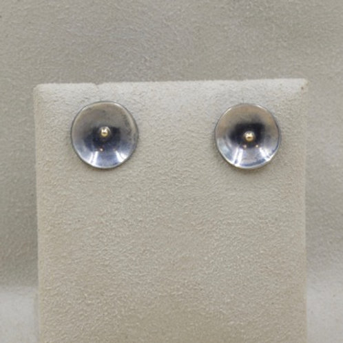 14k Gold and Sterling Silver Stud Earrings by Richard Lindsay