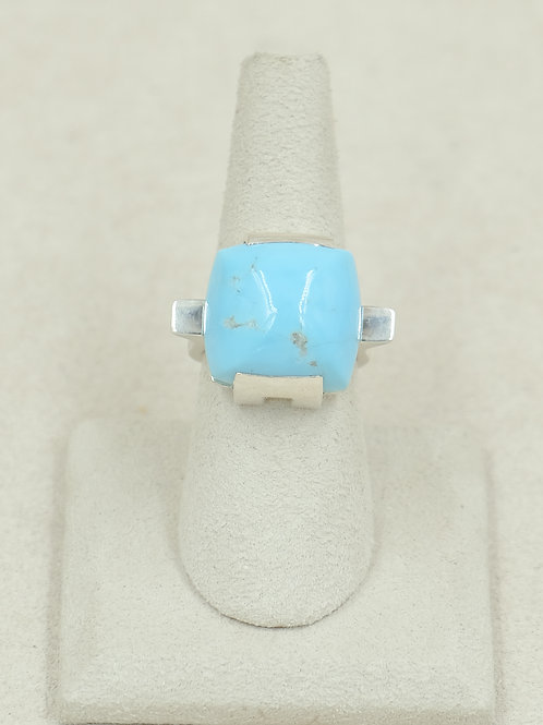 Sterling Silver w/ Natural Kingman Turquoise 7.5x Ring by Reba Engel