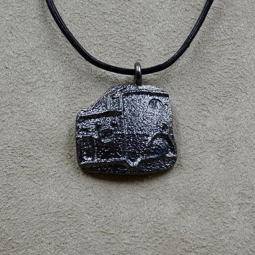 Oxidized Sterling Silver Tufa Pueblo Pendant on Leather by Massimo Misquadace