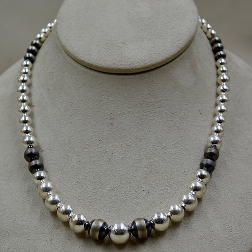 Graduated SS & Oxidized Navajo Pearl Beaded Necklace by Sippecan Designs