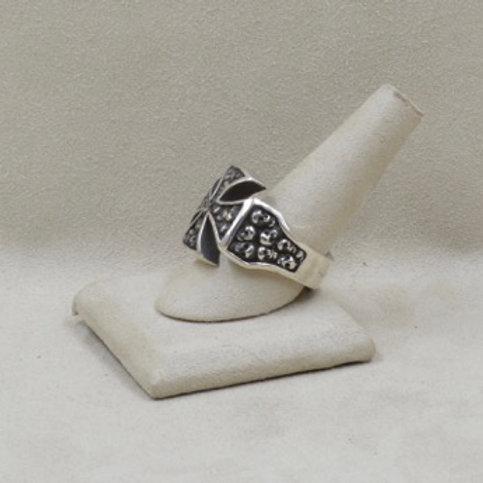 Biker Cross with Ancestor Skulls Ring by JL McKinney 13.5X