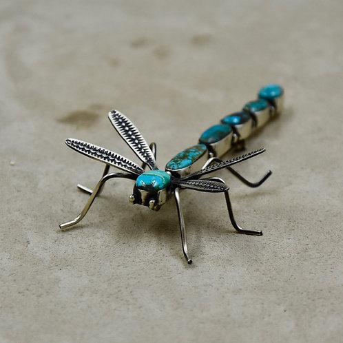 Multi Turquoise on Sterling Silver Dragonfly Pin by Herbert Ration