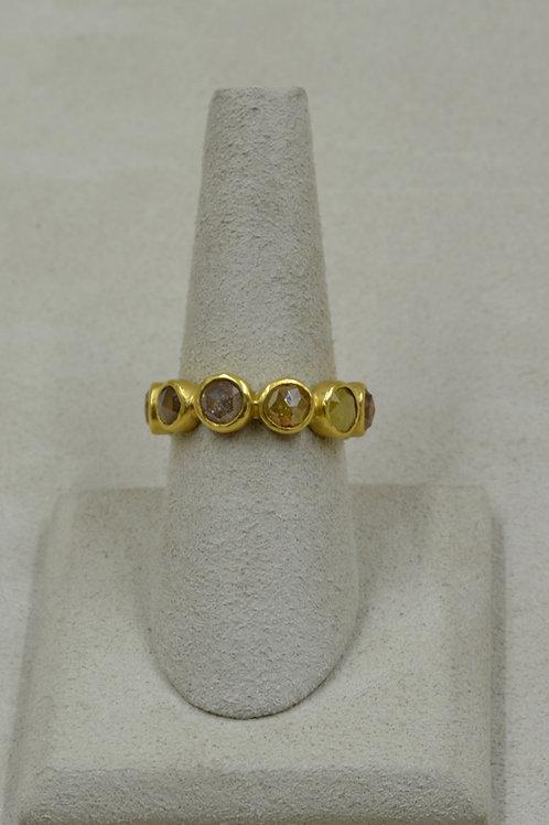 22k Gold, Rosecut Diamond, & Frosty Amber 7x Ring by Pamela Farland