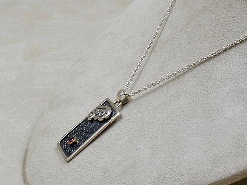 Sterling Silver Tibetan Cloud w/ Rhodolite Pendant on Chain by Roulette 18