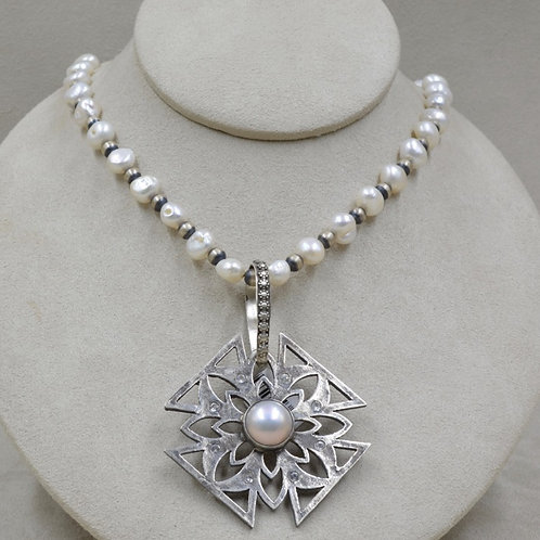 Mabe Pearl & White Topaz on Oxidized Sterling Silver Pendant by Michele McMillan