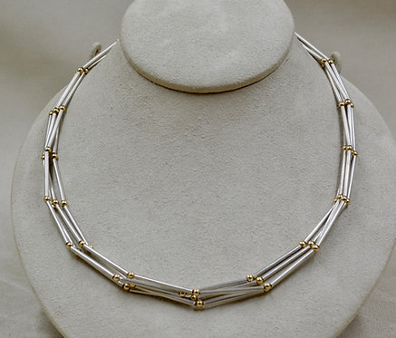 4 Strand Necklace w/ Sterling Silver Tubes & 14k Beads by Jacqueline Gala