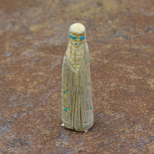 Medium Corn Maiden - Elk Antler & Turquoise - by Scott Garnaat - Zuni