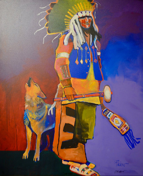 """Lakota Sioux Chief with Dog"" Enhanced Giclee 48"" x 40"" by Malcolm Furlow"