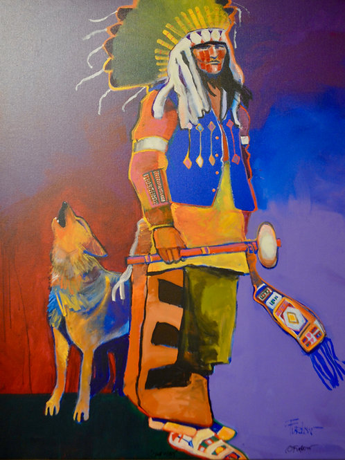 """""""Lakota Sioux Chief with Dog"""" Enhanced Giclee 48"""" x 40"""" by Malcolm Furlow"""