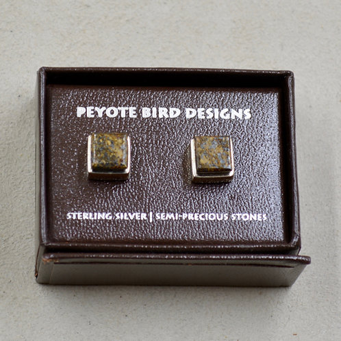 3-D Large Square Bronzite Post Earrings by Peyote Bird Designs