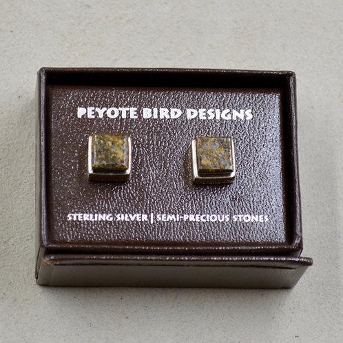 3-D Large Square Bronzite Post Earrings by Peyote Bird Designs