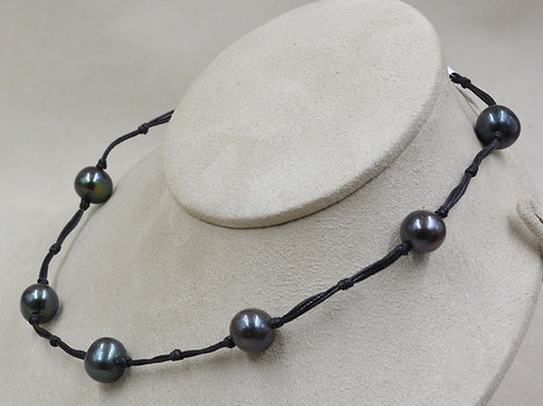 Cultured Freshwater Peacock Pearls Necklace on Agua Leather by US Pearl Co.