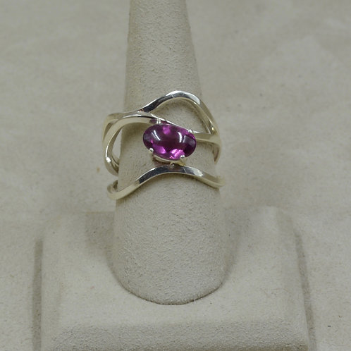 Sterling Silver Square Wire 8x Ring w/ Tourmaline by Tim Busch