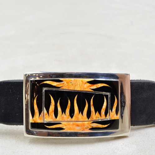 Flame Buckle w/ S. Silver w/ Black Jade, Spiny Oyster by GL Miller