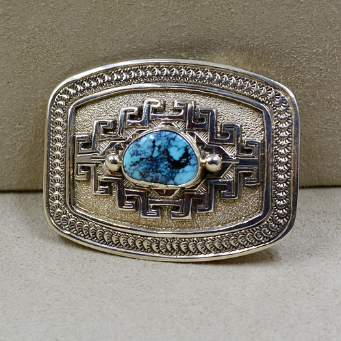 Chinese Turquoise & Sterling Silver Belt Buckle by Jefferson Brown