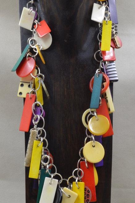 S. Silver, Multi Dyed Bone, Lucite/Bakelite Necklace by Melanie DeLuca