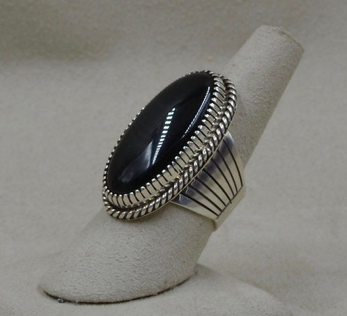 Sterling Silver with Onyx 8X Ring by Marian Nez
