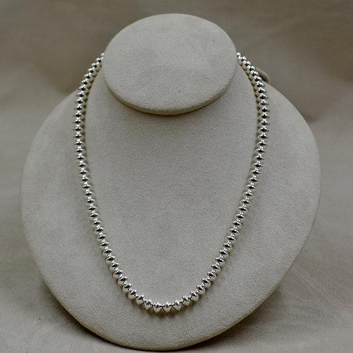 "Sterling Silver Shiny Handmade Bead 18"" Chain by Bettilyn Nez"