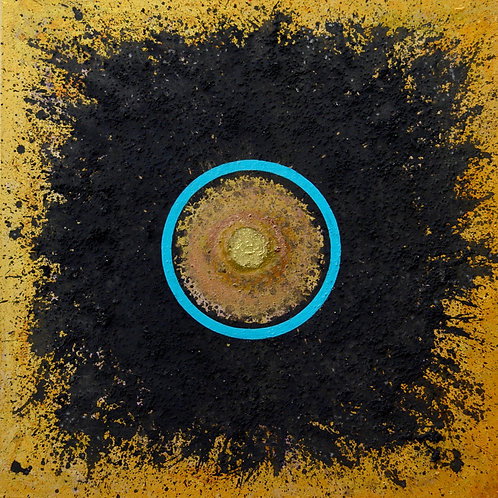"""""""Ceremonial Sun Series"""" Turquoise Circle on Gold - 36""""x36""""- by Doug Coffin"""