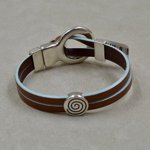 Blue & Brown Circle of Life 2 Plain Sliders Plated Bracelet by Sippecan Designs