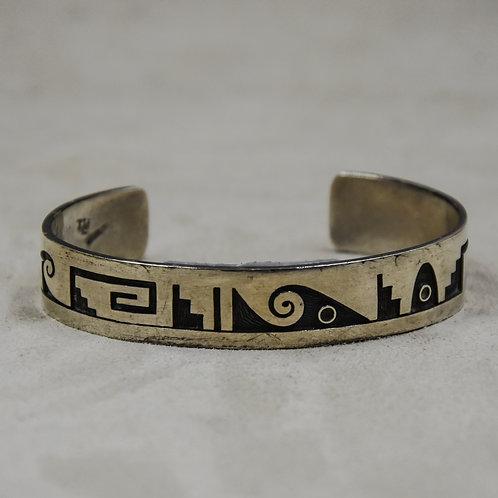 Vintage Hopi Sterling Silver Overlay Cuff