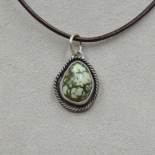 Natural Damale Turquoise Teardrop & Sterling Silver Pendant by Joe Glover