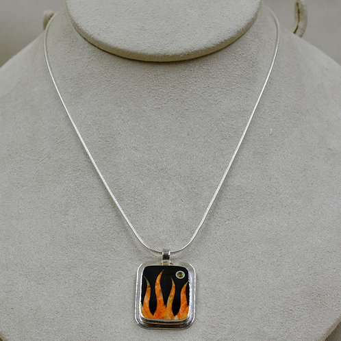 Flame Dogtag Pendant w/ S. Silver w/ Black Jade, Spiny Oyster, Opal by GL Miller