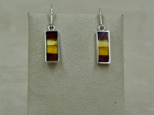 Amber Mosaic & Sterling Silver Small Skinny Earrings by MTM Silver