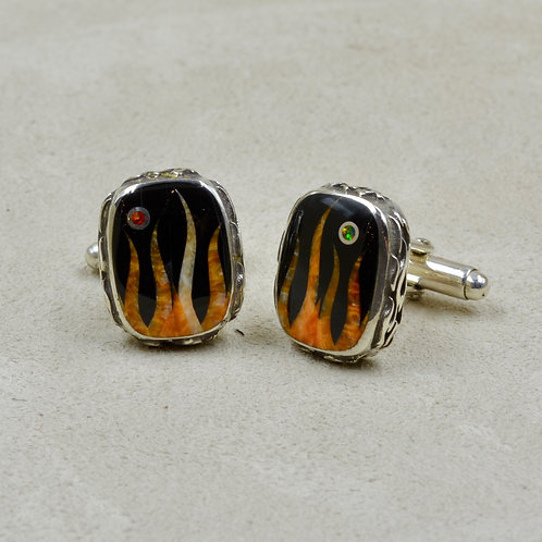 Flame Cufflinks w/ S. Silver w/ Black Jade, Spiny Oyster by GL Miller