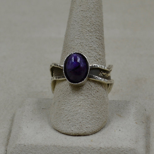 Charoite, Cloud Design Shank, 9.5x Sterling Silver Ring by Cheryl Arviso