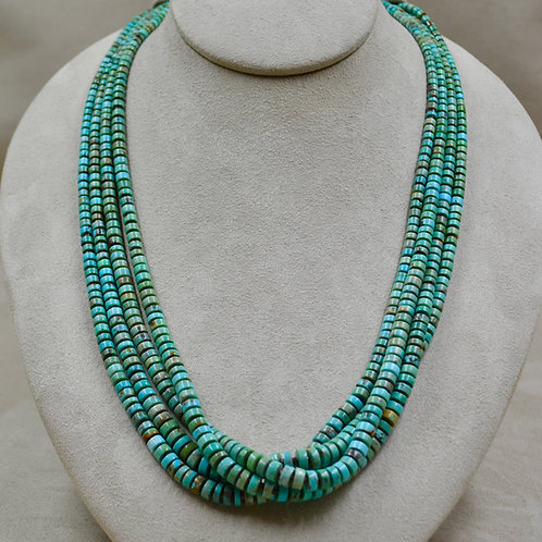 4 Strand Nevada Green Turquoise & Olive Shell by Kenneth Aguilar
