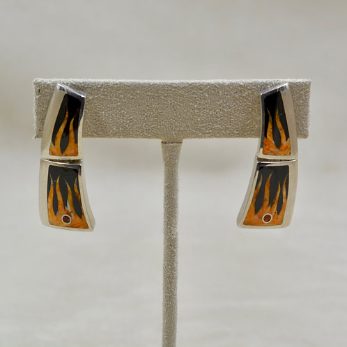 Flame S. Silver Earrings w/ Black Jade, Spiny Oyster, Opal by GL Miller