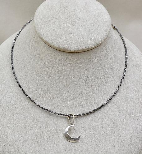 Fine Silver Thai Oxidized Beads w/ 12mm FW White Pearl Necklace by Reba Engel
